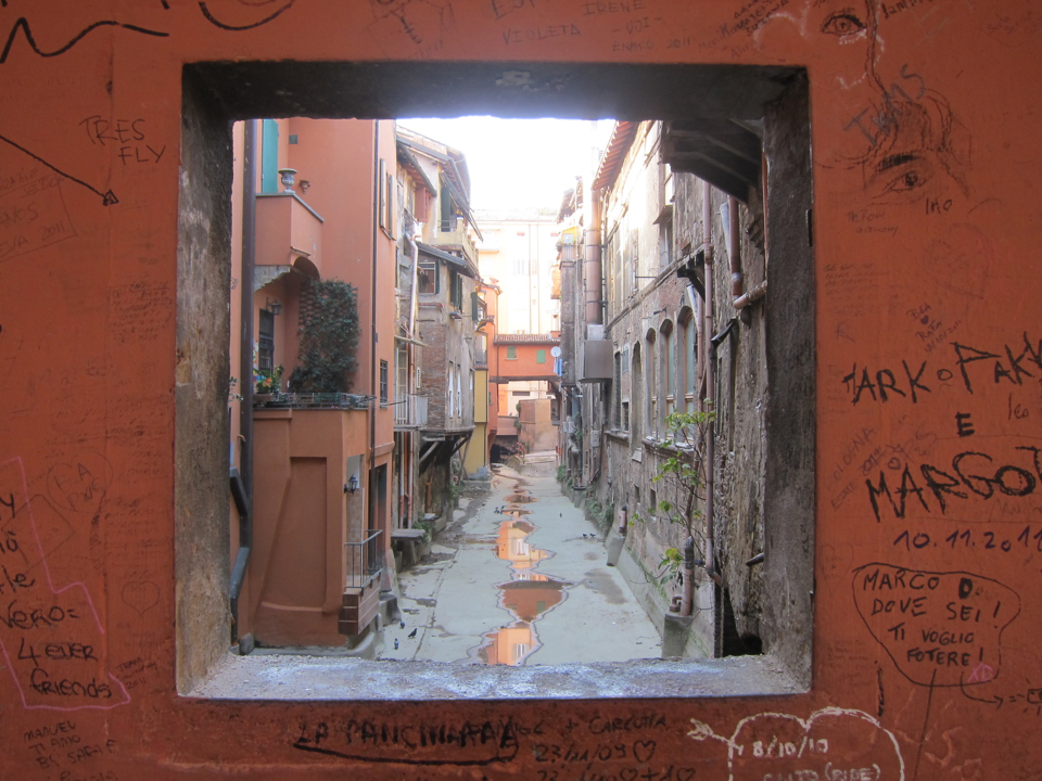 Alleyway in Bologna, Italy