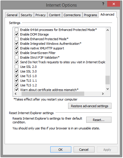 IE 10 settings panel