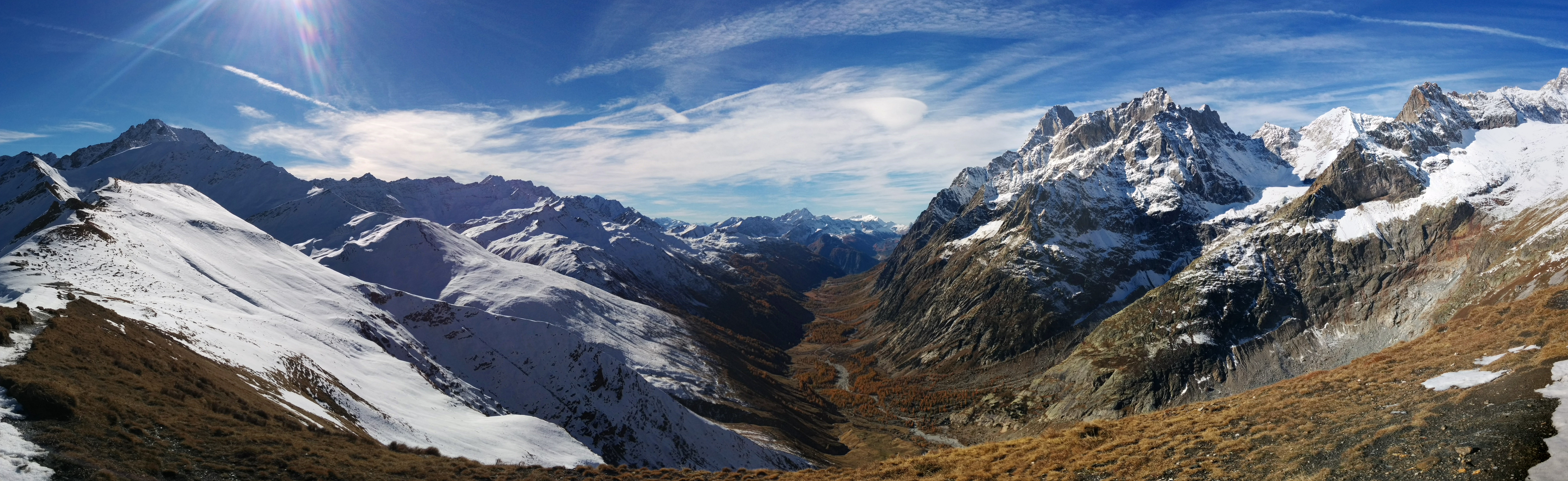 Looking southwest from the Col Val Ferret into Italy